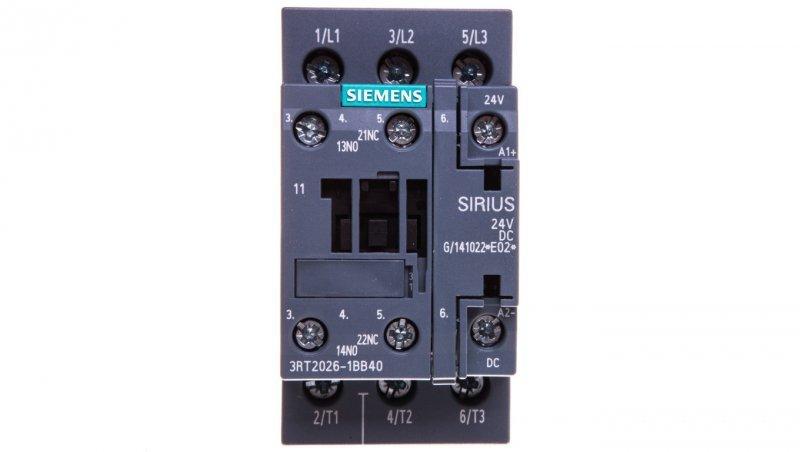 Stycznik mocy 25A 3P 24V DC 1Z 1R S0 3RT2026-1BB40
