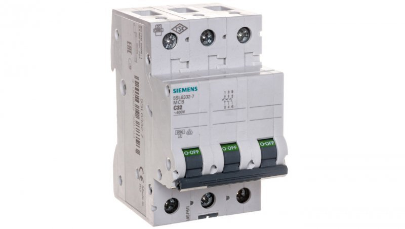 Wyłącznik nadprądowy 3P C 32A 6kA AC 5SL6332-7