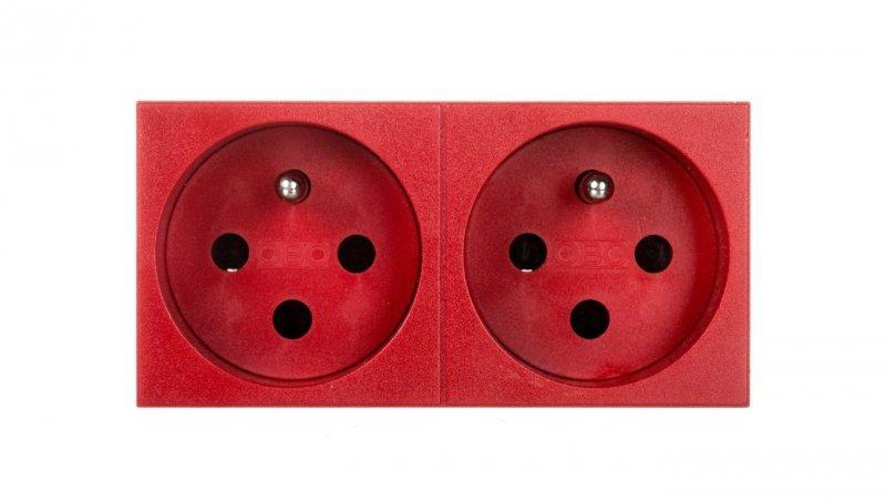 Gniazdo zasilające M45 podwójne z/u 16A czerwone STD-F0K SRO2 6120314