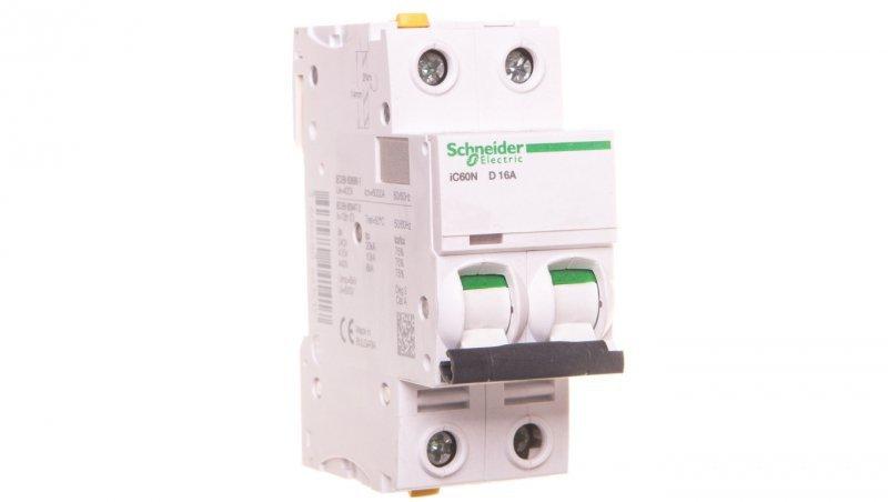 Wyłącznik nadprądowy 2P D 16A 6kA AC iC60N-D16-2 A9F05216