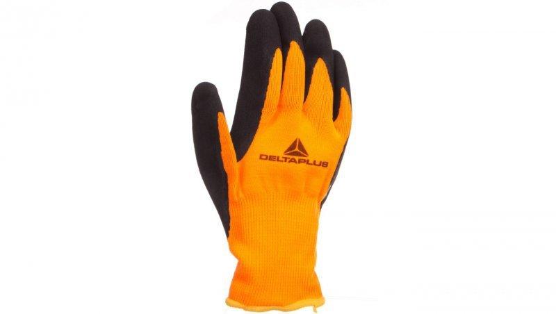 Rękawice dziane z poliestru fluorescencyjnego strona chwytna z pianki lateksowej czarno-pomarańczowe rozmiar 7 APOLLON VV733OR07