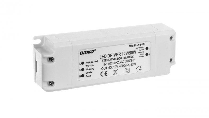 Zasilacz LED 12V DC 50W 4,2A IP20 OR-ZL-1616