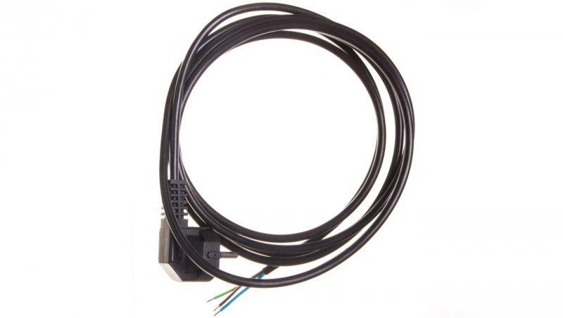Przewód przyłączeniowy W-2 3x1,0 mm2 czarny z wtyczką kątową 3m 51.927
