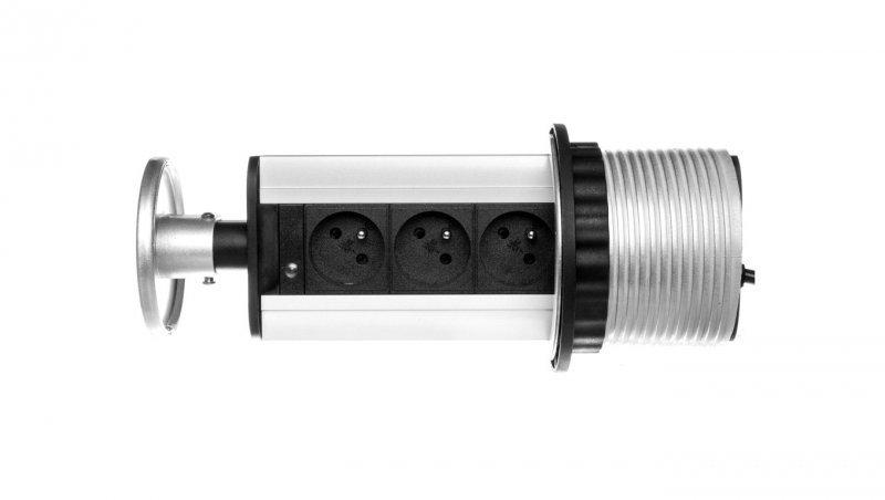Gniazdo meblowe fi10cm, 3x250V AC wysuwane z blatu z przewodem 1,8m srebrne OR-AE-1351