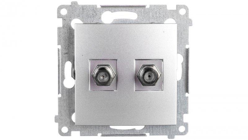 Simon 54 Gniazdo antenowe podwójne typu F srebrny mat DASF2.01/43