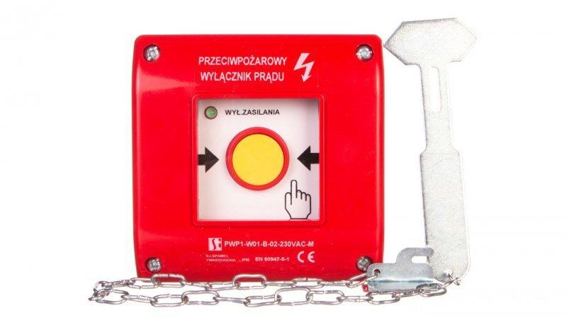 Przyciskppoż.natynkowypo zbiciu 0Z2R czerwony z młoteczkiem 230V PWP1-W01-B-02-230-M
