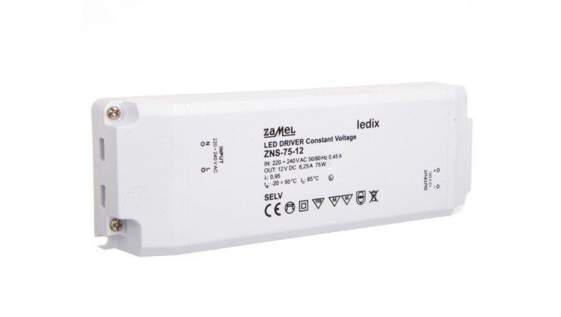 Zasilacz LED slim 12V DC 75W ZNS-75-12 LDX10000141