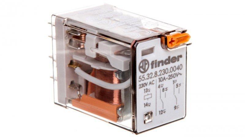 Przekaźnik miniaturowy 2P 10A 230V AC przycisk testujący mechaniczny AgNi  55.32.8.230.0040
