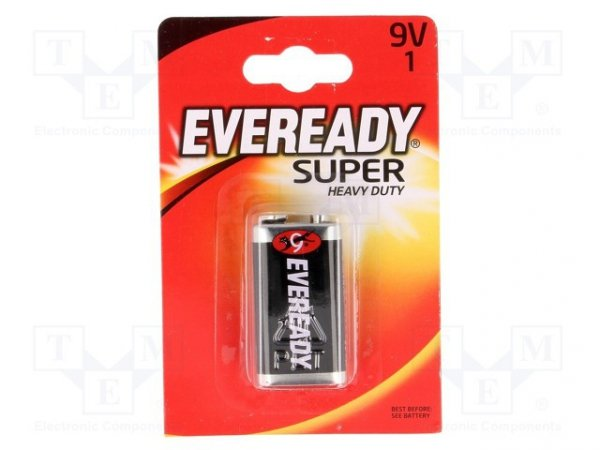 Bateria: cynkowo-chlorkowa; 9V; 6F22; Eveready Super Heavy Duty