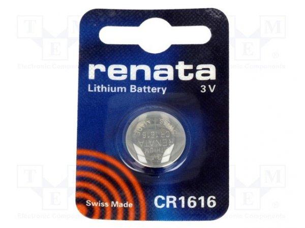 Bateria: litowa; 3V; CR1616,pastylkowa; Il.bat: 1; Ø16x1,6mm; 50mAh