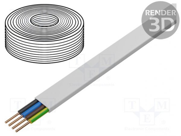 Przewód; YDY; płaski; drut; Cu; 4G2,5mm2; PVC; biały; 450/750V; 100m