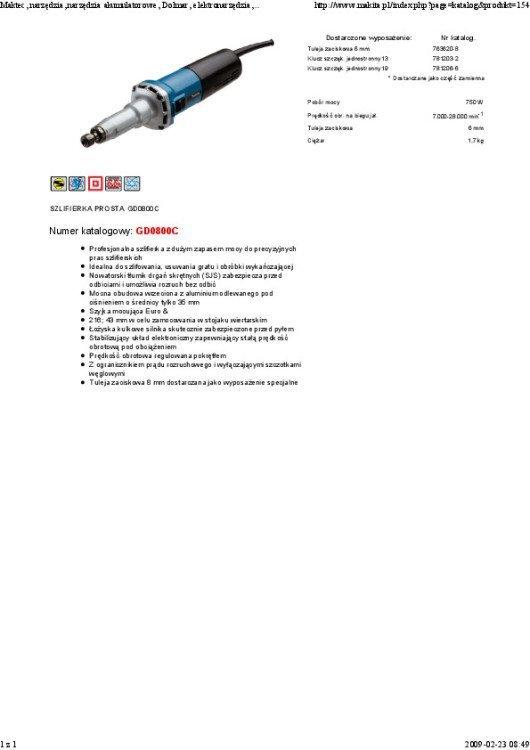 SZLIFIERKA PROSTA 750W 6MM 7000-28000 OBR/MIN