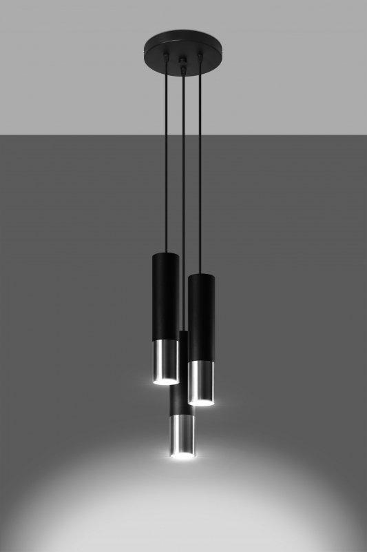 Lampa wisząca LOOPEZ 3P czarny/chrom