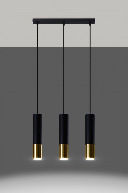 Lampa wisząca LOOPEZ 3L czarny/złoty