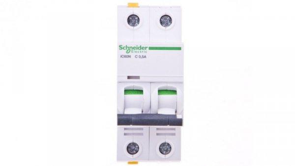 Wyłącznik nadprądowy 2P C 0,5A 6kA AC iC60N-C0,5-2 A9F04270