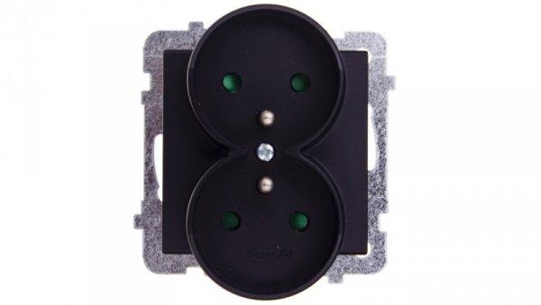 SONATA Gniazdo podwójne z/u z przesłonami czarny metalik GP-2RRZP/m/33