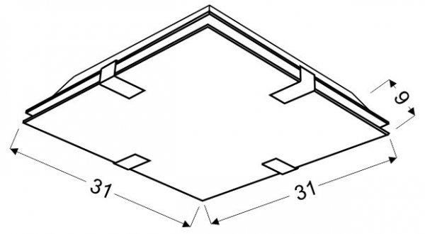VAGANTE PLAFON 31X31 2X60W E27 KWADRAT