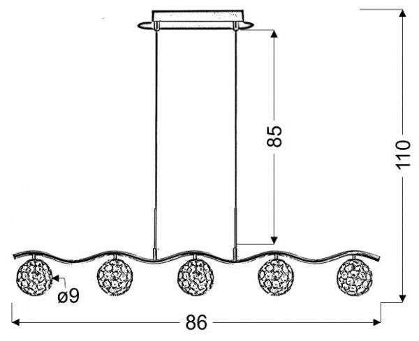STARLET ZWIS 5X40W G9 CHROM/TRANSPARENT