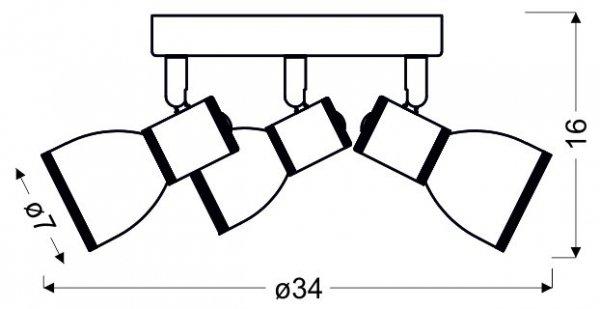 FIDO PLAFON 3X40W E14 BIAŁY+CHROM