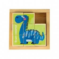 Drewniane klocki puzzle edukacyjne układanka Dino