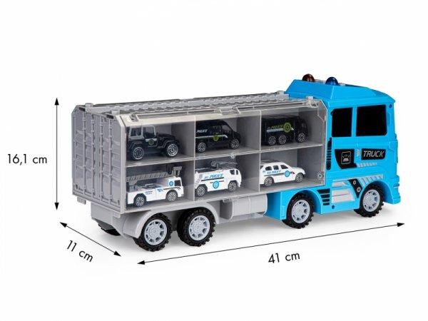 Ciężarówka laweta zestaw 6 aut resoraki policja
