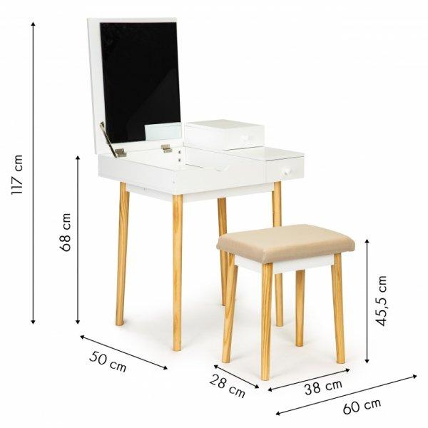 Toaletka kosmetyczna biurko z lustrem + taboret