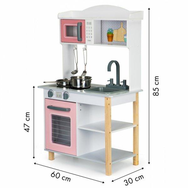 Drewniana kuchnia dla dzieci + metalowe akcesoria