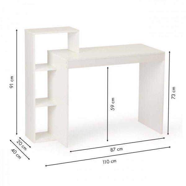 Biurko komputerowe biurowe białe stół +regał 4 półki