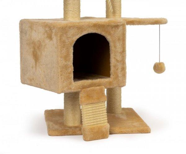 Drapak dla kota domek legowisko piętrowe wieża 120cm + zabawki