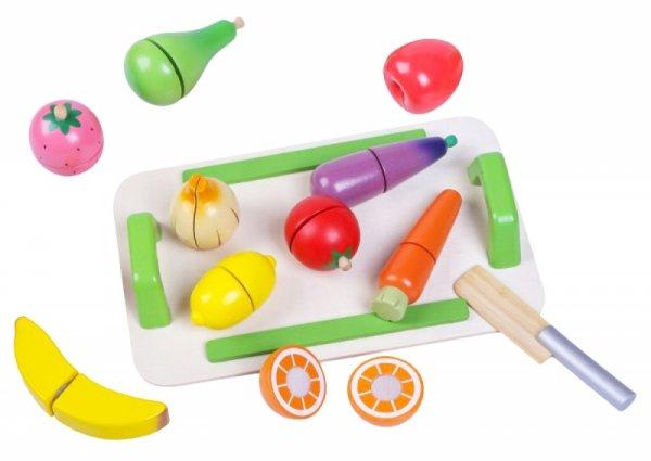 Zestaw drewnianych warzyw i owoców do krojenia Ecotoys