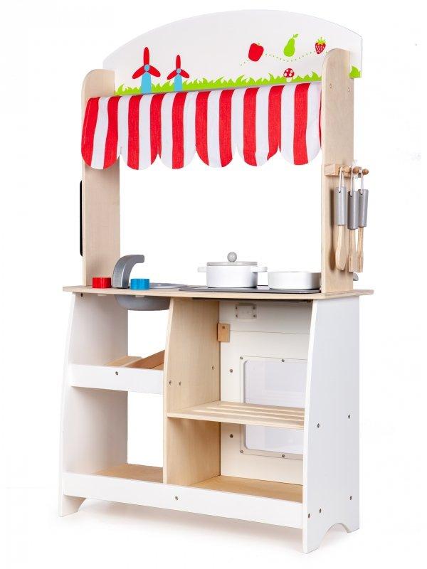 Drewniana kuchnia sklep stragan +dodatki Ecotoys,