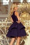 Podwójnie rozkloszowana sukienka z koronkową górą Laura - Granatowa - numoco 205-3