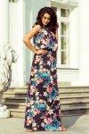 Długa sukienka MAXI wiązana na szyi z rozcięciem - KAMELEONY z kwiatami - numoco 191-3