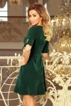 Sukienka z falbankami i wiązaniem na rękawkach - Ciemnozielona - numoco 235-2