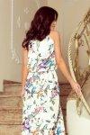 Sukienka MAXI wiązana na szyi z rozcięciem - kolorowe róże i niebieskie ptaszki - numoco  191-6