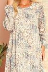 HANNAH szyfonowa sukienka z dekoltem na plecach - beżowo-niebieska-7
