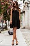 Sukienka ANDI z wiązaniami na ramionach - Czarna_1