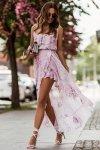 Zwiewna szyfonowa sukienka z falbankami - AMIS_1