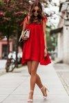 Sukienka ANDI z wiązaniami na ramionach - Czerwona_1