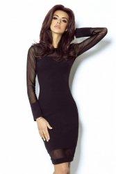 Dopasowana sukienka z elementami z siatki Alexis - Czarna - Ivon -