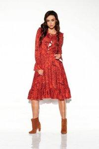 Sukienka ze sznurowanym dekoltem wzory - StreetStyle LG505