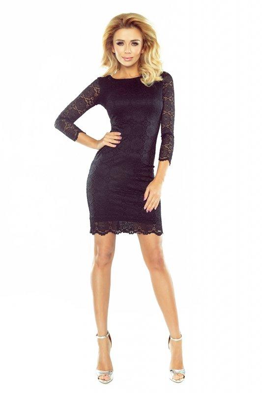 Sukienka koronkowa z ozdobnymi wykończeniami - Czarna - numoco  180-1