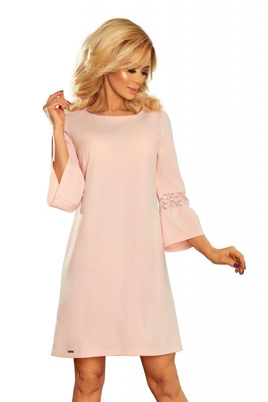 Sukienka z koronką na rękawkach Margaret - Pastelowy Róż - numoco 190-1