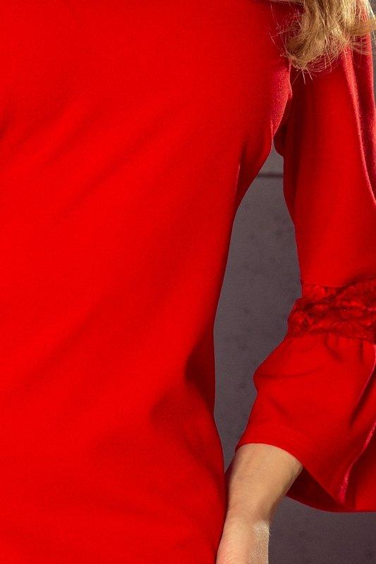 Sukienka z koronką na rękawkach Margaret - Czerwona  - numoco 190-3