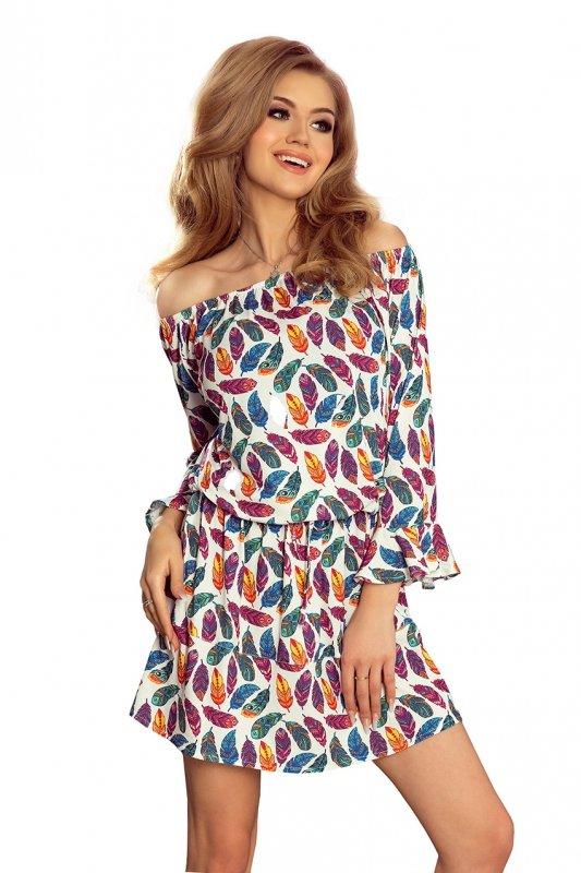 Sukienka z falbankami na rękawkach - Indiańskie kolorowe Pióra - Julie