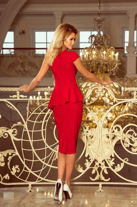 Elegancka sukienka Midi z baskinką - Czerwona - numoco 192-5