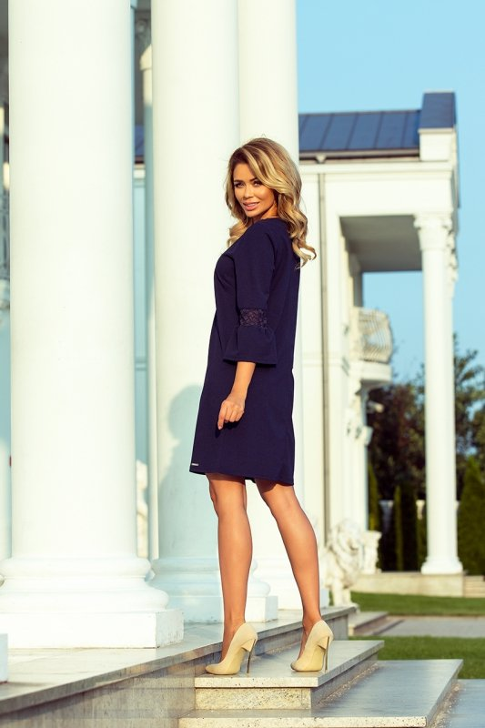 Sukienka z koronką na rękawkach Margarat - Granatowa - numoco 190-6
