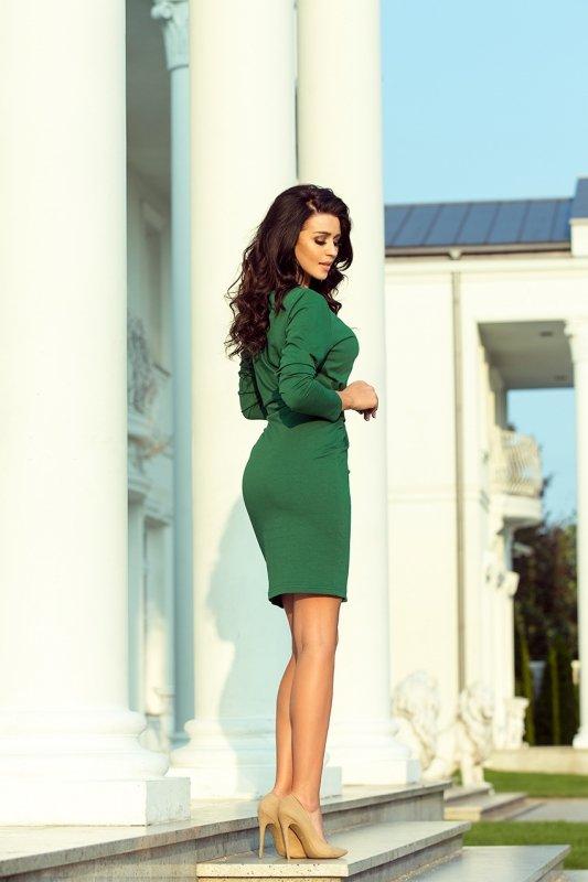 Sukienka z szerokim wiązanym Paskiem - Zieleń Butelkowa - numoco 209-2