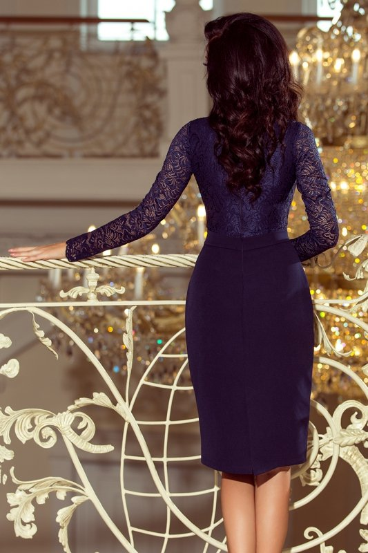 Elegancka ołówkowa sukienka z koronką Emma - Granatowa - numoco 216-1