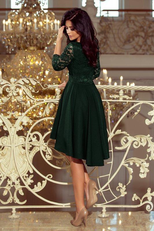 Sukienka z dłuższym tyłem z koronkowym dekoltem Nicolla - Ciemna Zieleń - numoco 210-3